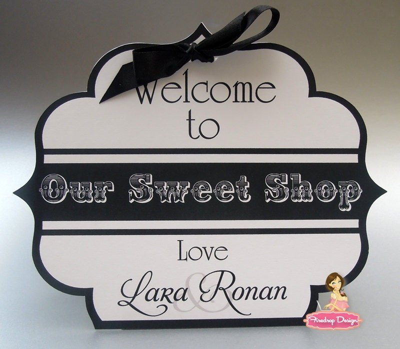 Black and white Candy bar 39Our sweet shop 39 signs