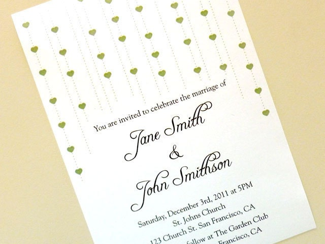 Printable Wedding Invitation String of Hearts From creotivo