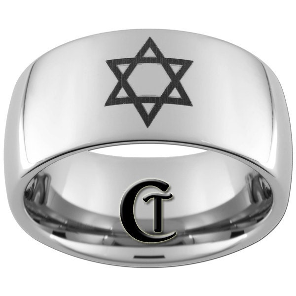 Mens Wedding Ring Tungsten 10mm Jewish Design Ring Sizes 517