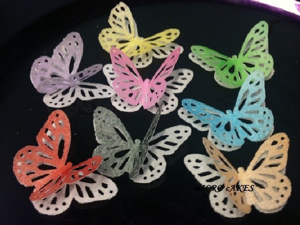 100 PC 50 PC 2 Layers Large Lace Monarch Butterfly For Cake Cupcake Cookie