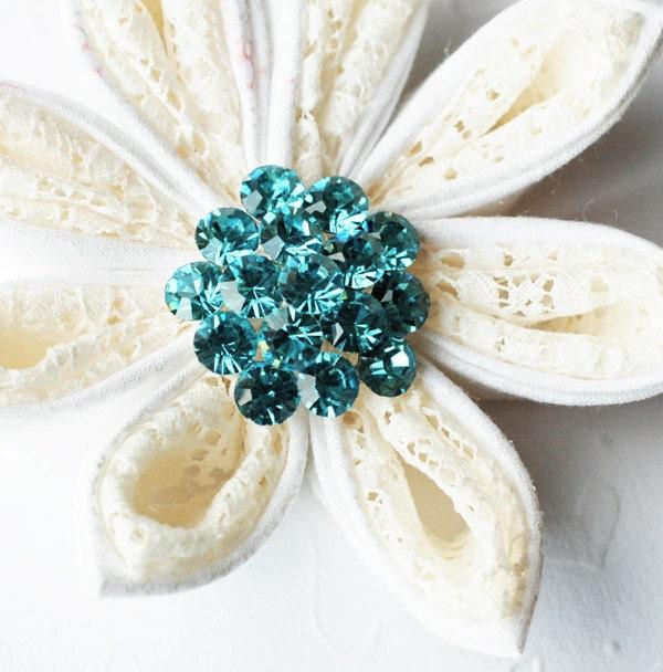 5 Rhinestone Button Tiffany Teal Blue Round 11 Diamante Crystal Hair