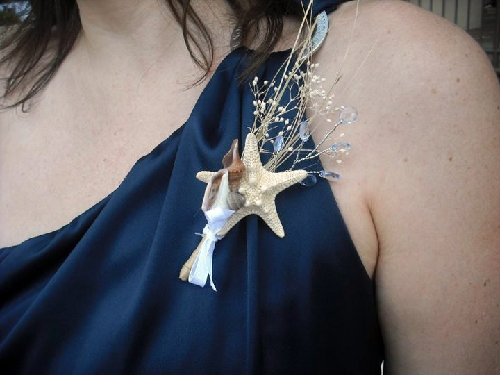 Set of 6 Shell Corsages for Desination Beach Wedding From CrocusCreative