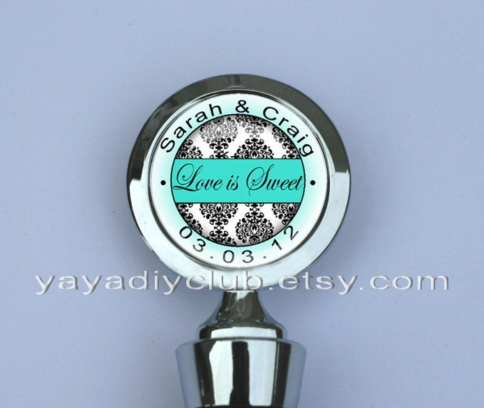 Wedding Wine Bottle Stopper Tiffany Blue Black and White Damask