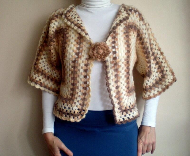 Crochet Flower Shrug Pattern : Crochet Bolero, Blended Brown Beige Sweater with Flower ...