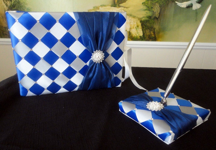 Royal Blue White and Silver Wedding Guest Book and Pen Set Holder with