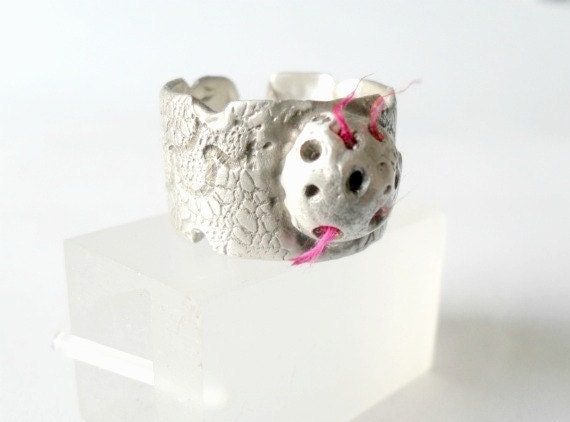 Sterling Silver Textured Ring-Lace Texture -Pod Filled With Red Silk-Unique-Lost Wax Method-Contemporary Design