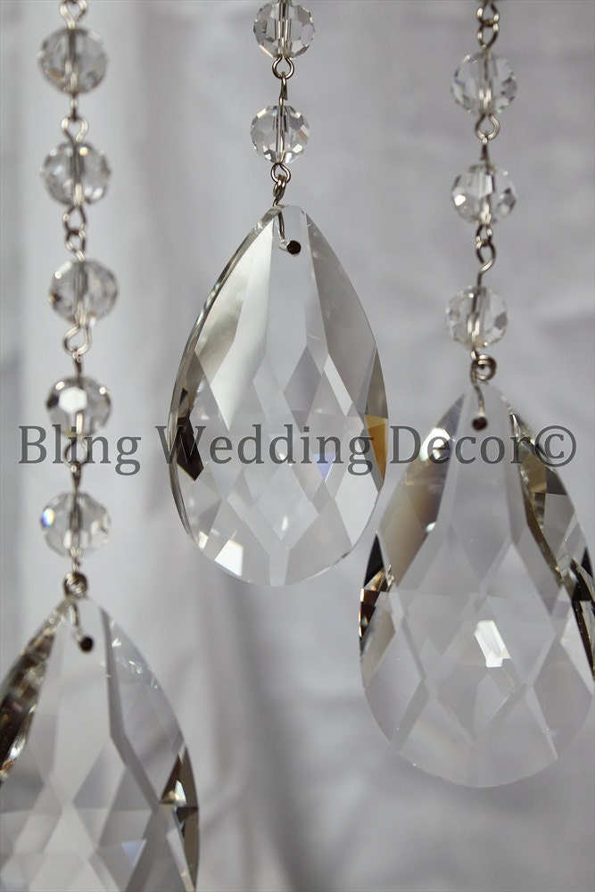 8 Hanging Sparkly Wedding Crystals Centerpiece Decorations 63mm LOT 10
