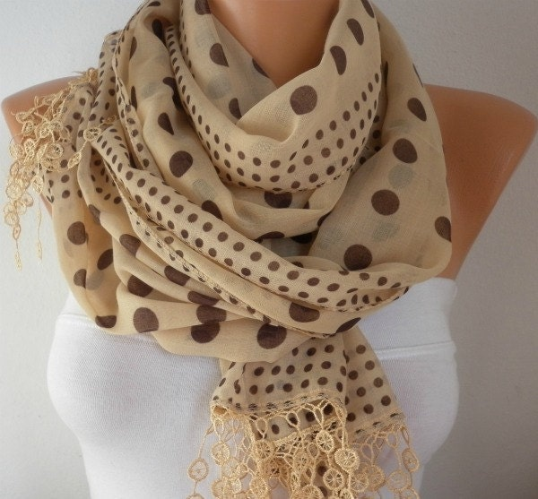 Mustard scarff with large and small brown polka dots
