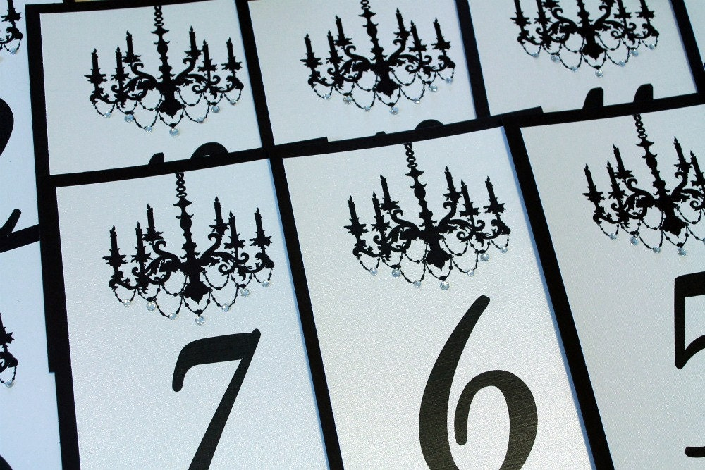 Set of 10 Black and Ivory Wedding Table Numbers with Chandelier with