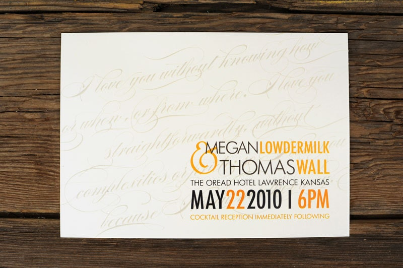 Simple Diagonal Script Wedding Invitations wedding invitation on postcard