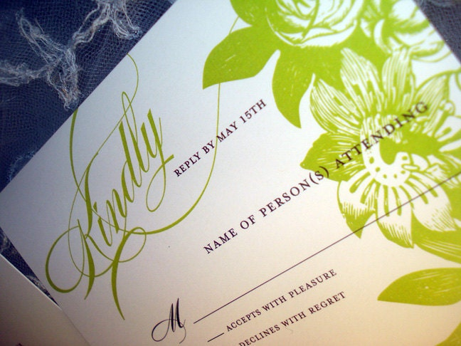 Fields Wedding Collection in Green Apple Invitation and Reply Card also