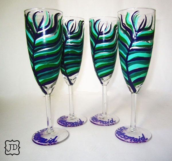 Peacock Champagne Glasses 4 Piece Customized Bridal Collection peacock