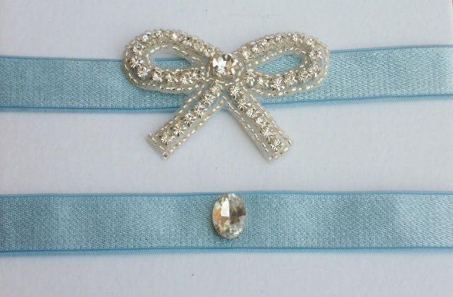 Blue Wedding Garter Set with Rhinestone Bow Light blue keepsake and toss