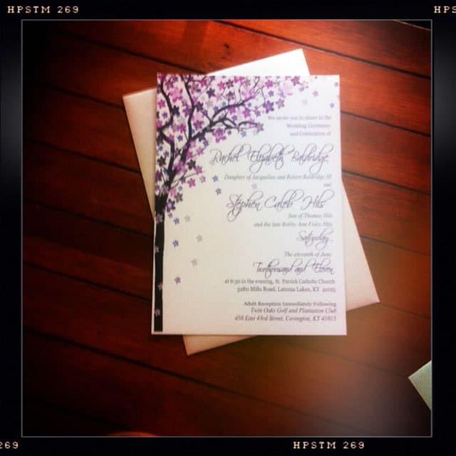 Purple Wedding Invitation Tree and Flowers Vintage Rustic Natural purple