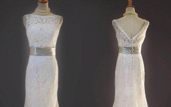Custom make Vintage A LINE Lace Wedding Dress Bridal Gown Square V Back