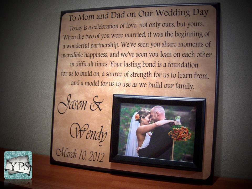Wedding Gift For Parents Mother of the bride parents gift thank you