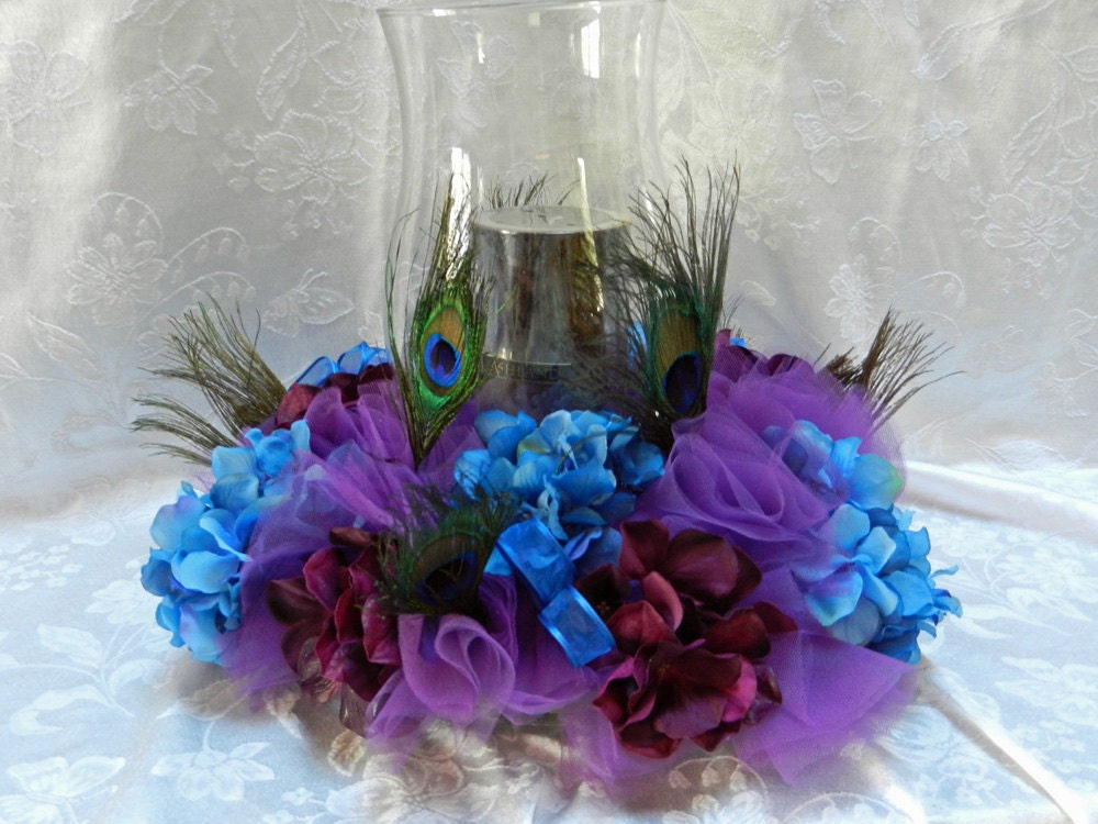 Peacock Feather Wedding Centerpiece Artificial Royal and Eggplant Hydrangeas