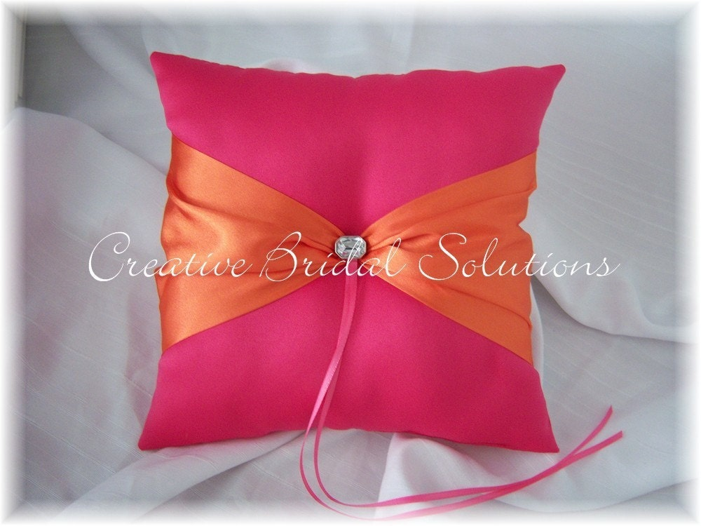 Fuchsia Pink Orange Wedding Ring Bearer Pillow From CreativeBridal
