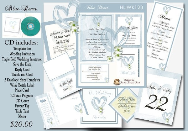 Blue Heart Wedding Invitation Kit on CD