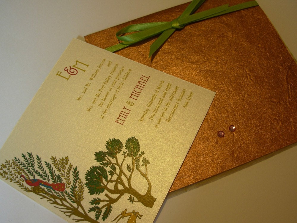Vrinda Van the enchanted forest Wedding Invitation and RSVP Card