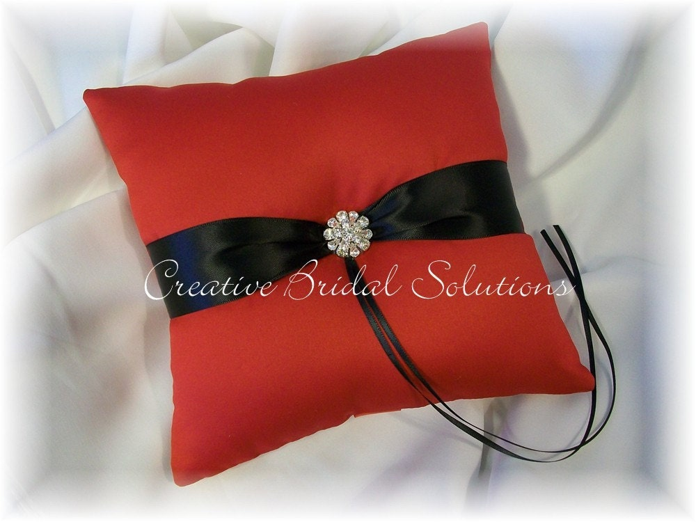 Red Black Satin Wedding Ring Bearer Pillow