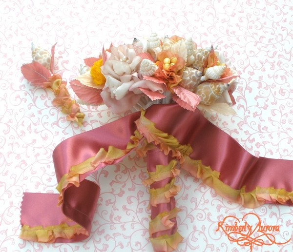 Fancy Hina Bridal Bouquet and Boutonierre of Shells and Silk Ribbon Flowers