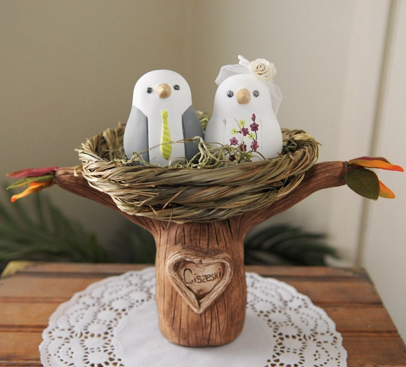 Custom Wedding Cake Topper Love Birds Tree with Nest Hand Sculpted